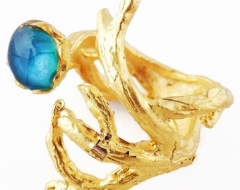 aqua blue ring golden branch ring gold tree ring blue wood ring tree branch jewelry nature inspired statement artisan jewelry