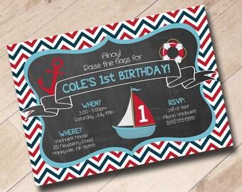 Nautical Sailor Anchor Sailboat Themed Invitation Chevron First Birthday