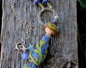 Summer Twilight Garden Fairy Necklace; doll necklace; handmade lampwork necklace; garden necklace; floral necklace; OOAK; SRAJD