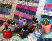 Mini Needle Felted/Clay Cactus in Pots