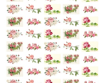 """50 of 1.5"""" x 1"""" Rectangular Roses stickers or envelope seals. all pictures shown included on one sheet (ro2)"""