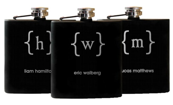 ... , University Gift, Wedding Party Flask, Greek Letters, Big Brother