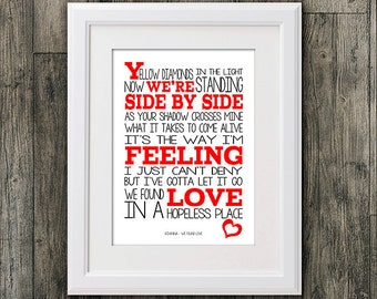 Rihanna - We Found Love . 8x10 picture mount & Print Typography song music lyric for framing ( No Frame )