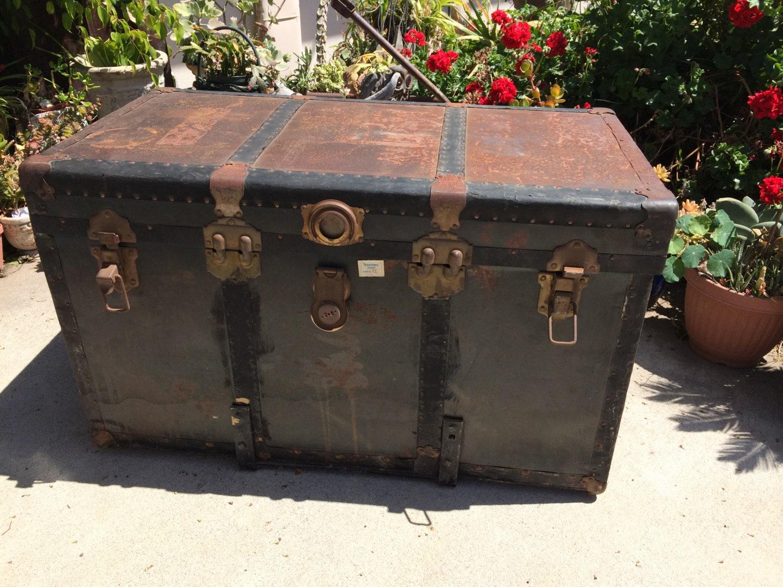 PRIX RÉDUIT Malle coffre Table basse Antique Steamer Trunk ~ Malle En Bois Maison Du Monde