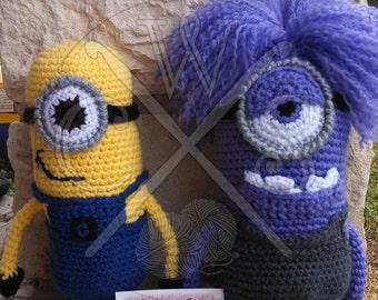Set of 2 Despicable Me Minion Amigurumi Dolls. Good Minion vs. Evil Minion Crochet Dolls