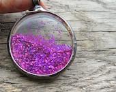 fuchsia dust, Magical pendant,  Nostalgic necklace, glitter, magic necklace, MARIAELA, bohemian necklace, boho