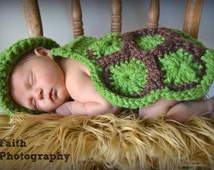Crochet pattern - Turtle cape and hat PHOTO PROP 0-3 months and 3-6 months