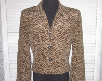Vintage Leopard Print Jacket Cropped Silk Jacket Womens Size 8 Lined Animal Print Dressy Jacket Blouse Crop Top