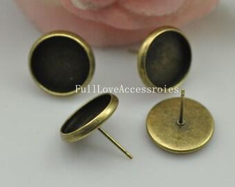 10pcs Fit 12mm Antique Brass Earring Setting - Antique Bronze Blank Bezel Cabochon Setting, Base Setting