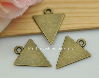 20pcs Antique Brass Triangle Charms Pendant 15x20mm Antique Bronze Trigon Charms Pendant