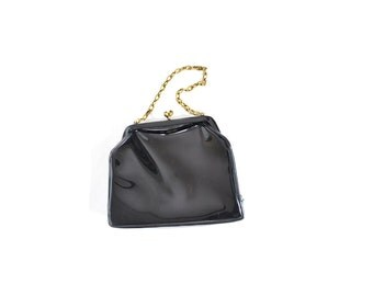 Girls purse, Patent Leather Purse, Black Bag, Black Purse, Women Bags and Purses / Vintage Accessories Purses
