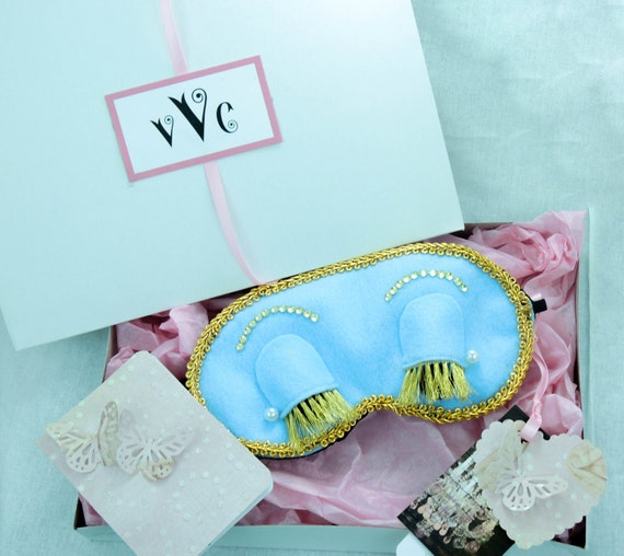 Breakfasts at Tiffany's inspired sleeping mask. Available in Blue , Sleeping mask,Mask Bridal mask,Elegant mask, Birthday, Christmas Gift...