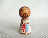 Divine Mercy Jesus doll Jesus figurine Christ Saint peg doll saint Catholic saint dolls First communion gift Baptism favors Christening gift