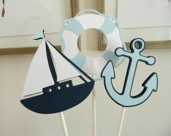 6 Light Blue Nautical Centerpiece Sticks, Nautical Table Decor, Sailboat Cupcake Toppers, Anchor Cupcake Toppers