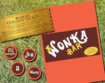 Willy Wonka Personalized Golden Ticket  invitation, Chocolate Bar Wrapper & party Tags Printable