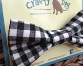 Dog Bow Tie - Black & White Checkers - Collar Accessory