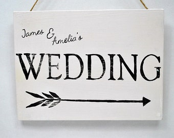 Shabby Chic Sign - Wedding Direction Sign