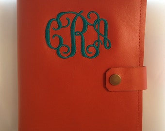 Monogrammed leather journals. Wedding party Gift