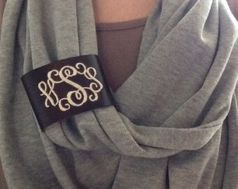 Monogram Leather Scarf Band,  Scarf Clip, Monogrammed Scarf Ring,