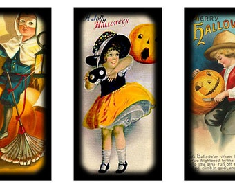 Digital collage sheet halloween vintage domino 1x2 inch instant download images for pendants jewelry printable retro