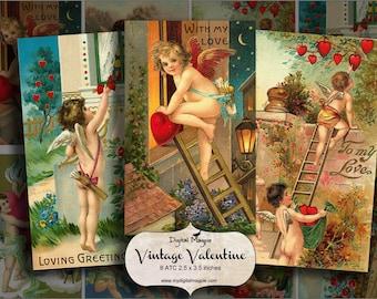 Vintage Valentine digital collage sheet printable cherubs ATC tags download 2.5 x 3.5 inch digital paper craft images valentine's day