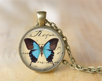 Butterfly Pendant Necklace Art Butterflies Jewelry  Print Photo Pendant Black Blue Necklace (005)