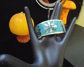 handmade from mexico, turquoise, abalone accented, silver cuff bracelet