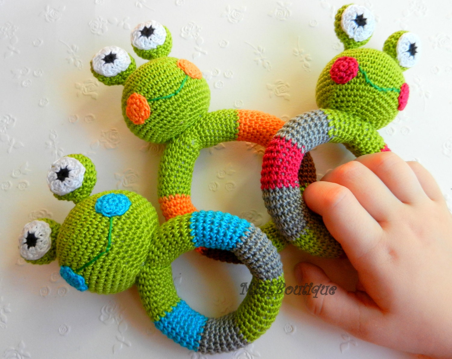 Beginner Crochet Patterns For Baby Toys : Crochet baby toy Grasping and Teething Toys Frog Stuffed toys