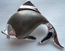 Vintage Signed JJ  Silver Matt pewter Fish Brooch/Pin