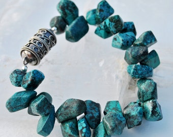 Chunky Genuine Turquoise nugget bracelet with Bali Sterling silver magnetic clasp