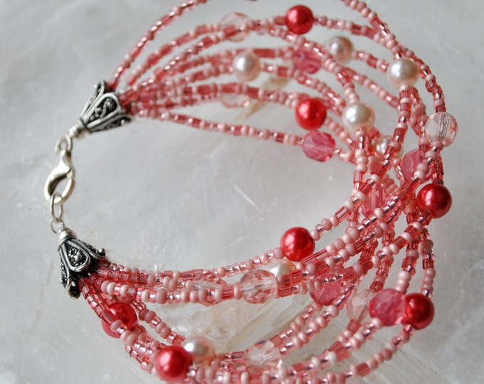 10 Strand Pink  Bracelet with pearls, seed beads, sterling silver and crystals