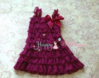 Flower girls dress- Raspberry Plum Lace dress,Girls dress, Birthday dress,fall dress,baby girl dress,princess dress,baby girl,wedding dress