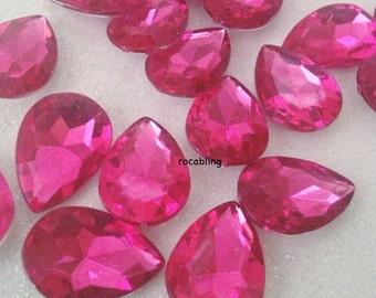 20 pieces of hot pink fuschia teardrop rhinestones / gems - U.S. SELLER -  DIY, bling, cabochon