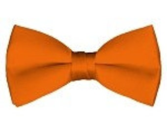 mens Bow tie (pre tied) Orange custom made many colors