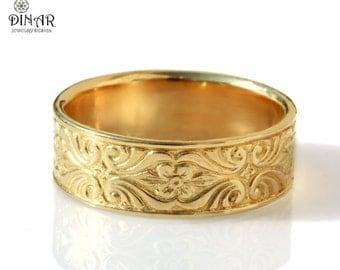 14k gold wedding band vintage design 7mm wide ring engraved floral pattern womens wedding band thick ring mens gold wedding band