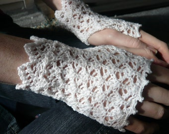 Hand knitted white or black cotton fingerless gloves