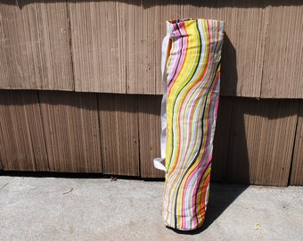 Yoga Mat Tote Bag Rainbow Striped Cotton Twill