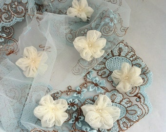 Wedding flowers hair clips 35mm, ivory lace flowers lot for wedding, flower girl, christening