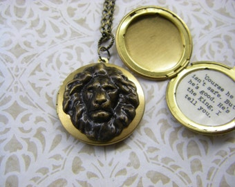 Aslan Narnia Locket Course he isn't safe. But he's good. He's the king I tell you quote C.S. Lewis  The Lion The Witch and The wardrobe