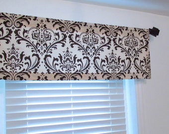 window valance beige brown damask living room kitchen bedroom bathroom custom sizing available - Valances For Living Room