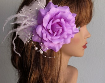 Lily Bridal Flower Hair Clip Wedding Accessory  Feathers Party Fascinator