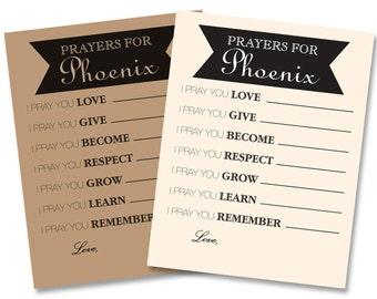 "Custom Rustic Prayer Cards    Baby Shower, Baptism, 1st Birthday    Digital Download Printable File    Prints 4 per 8.5""x11"""