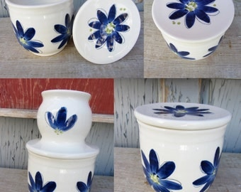 The french butter dish, handmade with porcelain clay, hand painted with blue flower patterns,cherries,apple,chickens or birch
