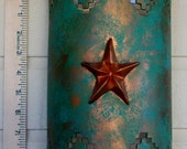 Ceramic Wall Sconce, with a 3d Texas star, and patina turquoise, made to order in NM USA, Interior decor and lighting, Southwestern style