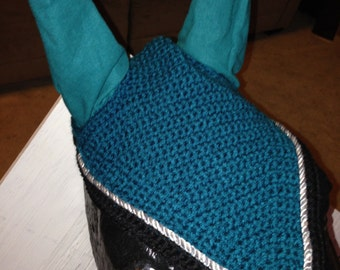 Horse Fly Bonnet: Teal and Black with Silver Sparkly Cording
