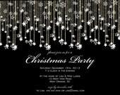Formal Christmas Lights Snowflakes Party Printable Invitation