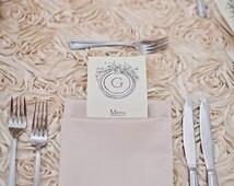 Blush Satin ROSETTE TABLECLOTH, Select Your Size, Rosette Wedding Tablecloth,Rosette Wedding Table Runner, Rosette Table Overlay, Cake Table