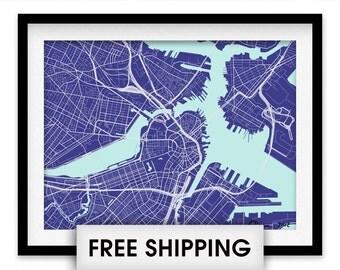 Boston Map Print - Choose your color