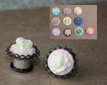 """Beatrice flower lace cameo stainless steel plugs tunnels for gauged or stretched ears sizes: 4g, 2g, 0g,00g,7/16,1/2,9/16,5/8"""""""
