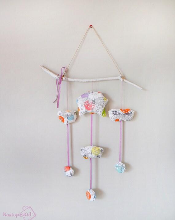 Mobile bébé papillons colorés, tissu coton